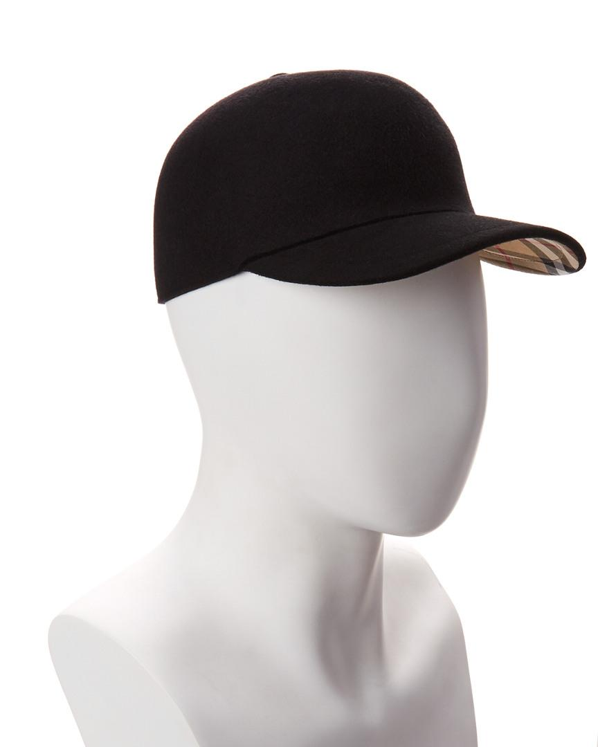 449cdb2ea Burberry Felted Wool Baseball Cap in Black - Lyst