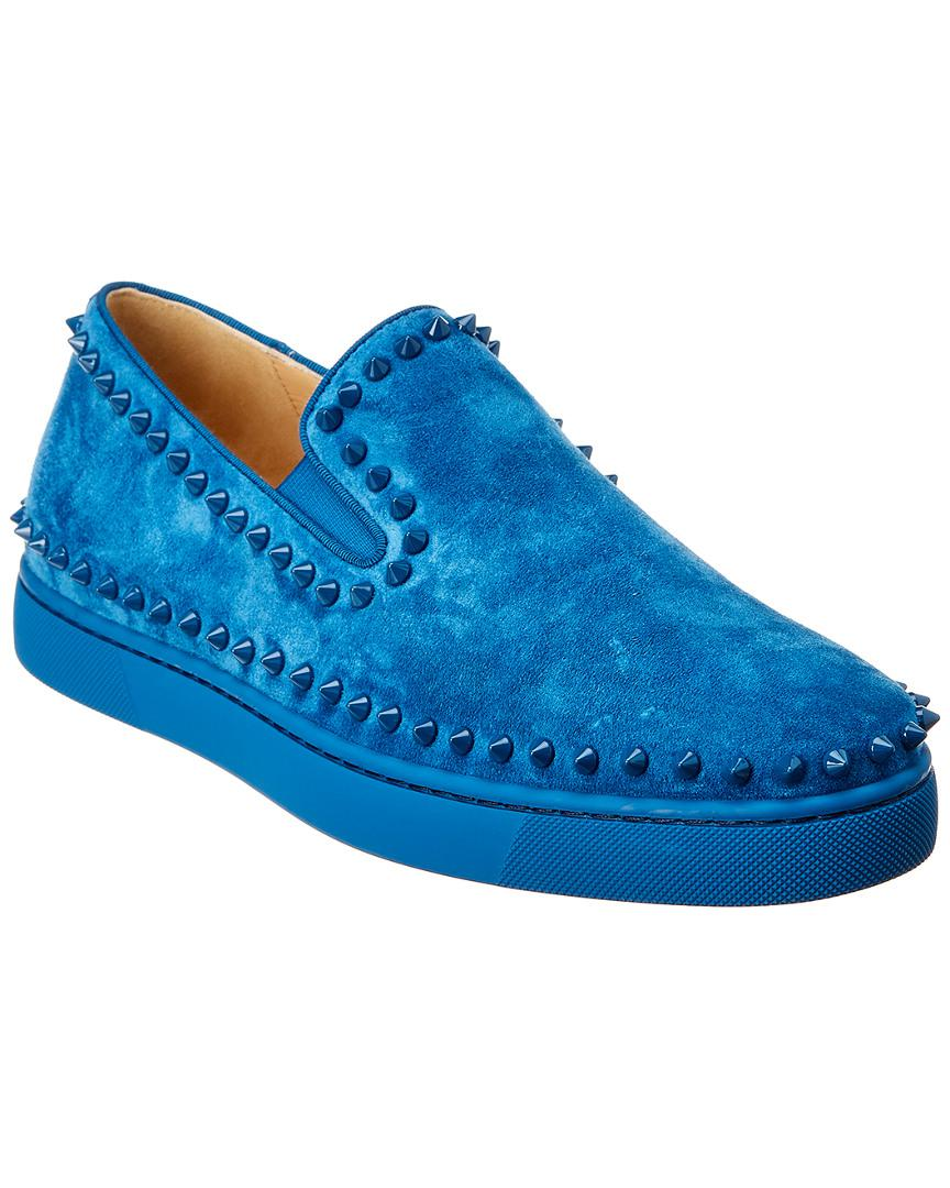 on sale b23c2 fd0ad Christian Louboutin Pik Boat Flat Suede Sneaker in Blue for ...