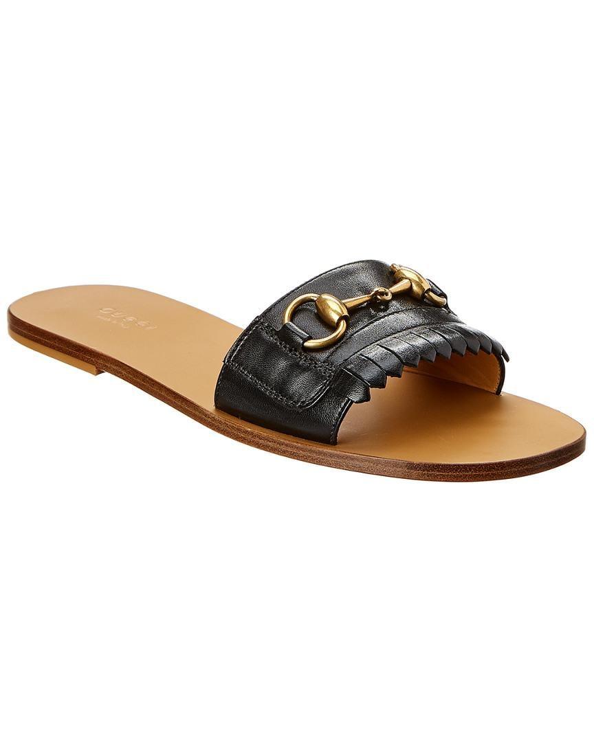 be80fde7cc30 Gucci Leather Fringe Horsebit Slide Sandal in Black - Save 3% - Lyst