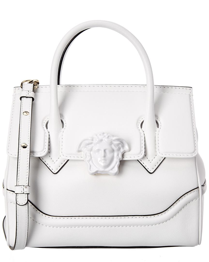 6468e12345f4 Lyst - Versace Palazzo Empire Medium Medusa Leather Satchel in White