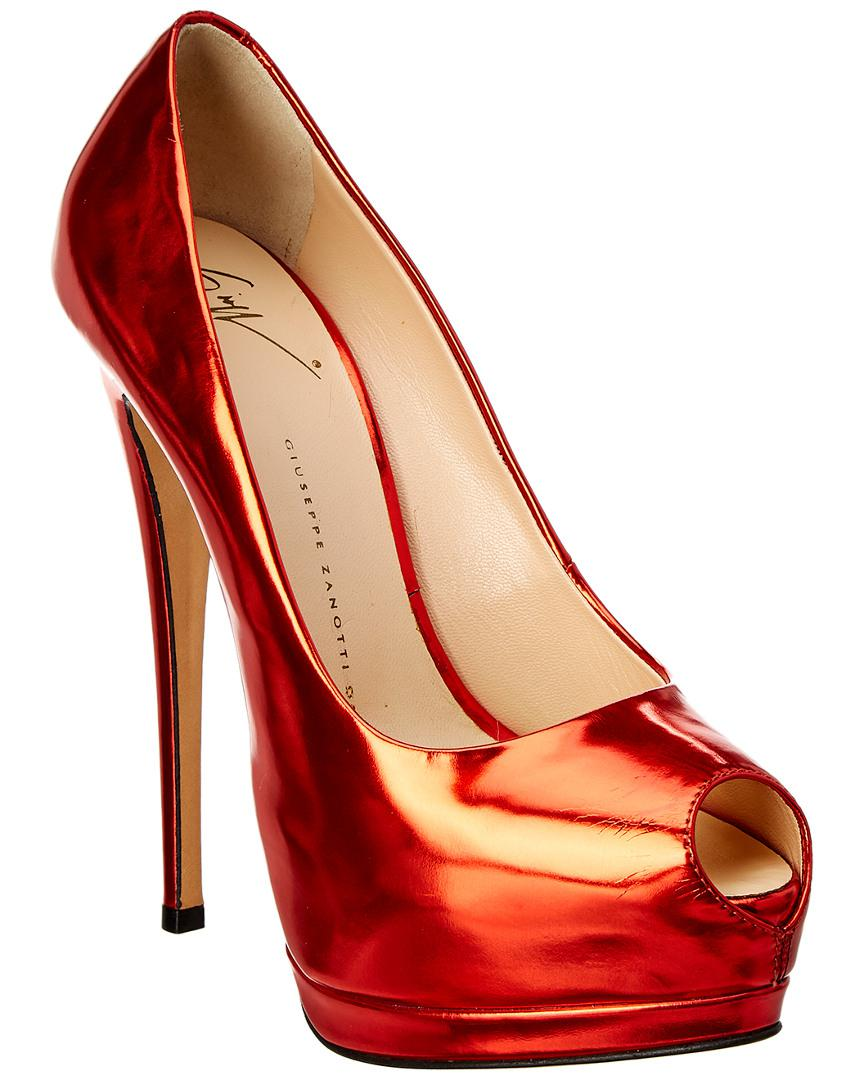 8cc1fea7cdad Lyst - Giuseppe Zanotti Leather Peep-toe Pump in Red