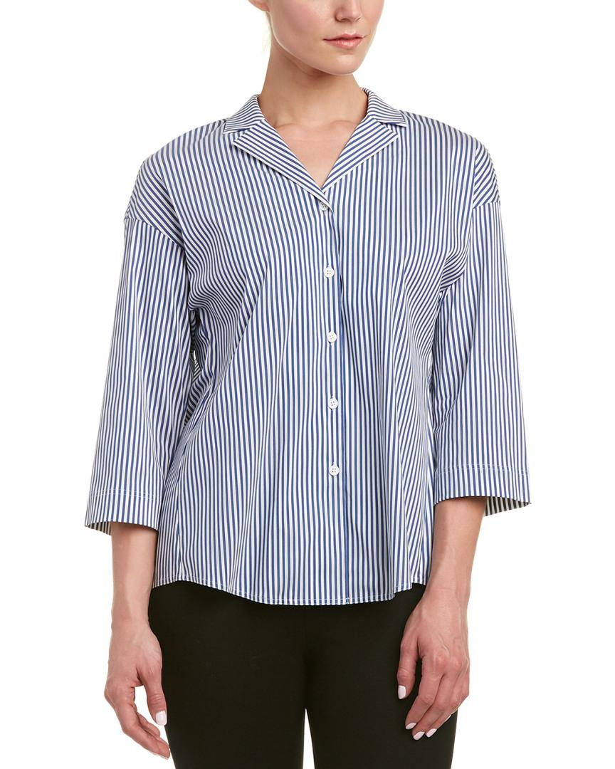 9e16143a1f2913 Lyst - Lafayette 148 New York Petite Analeigh Blouse in Blue