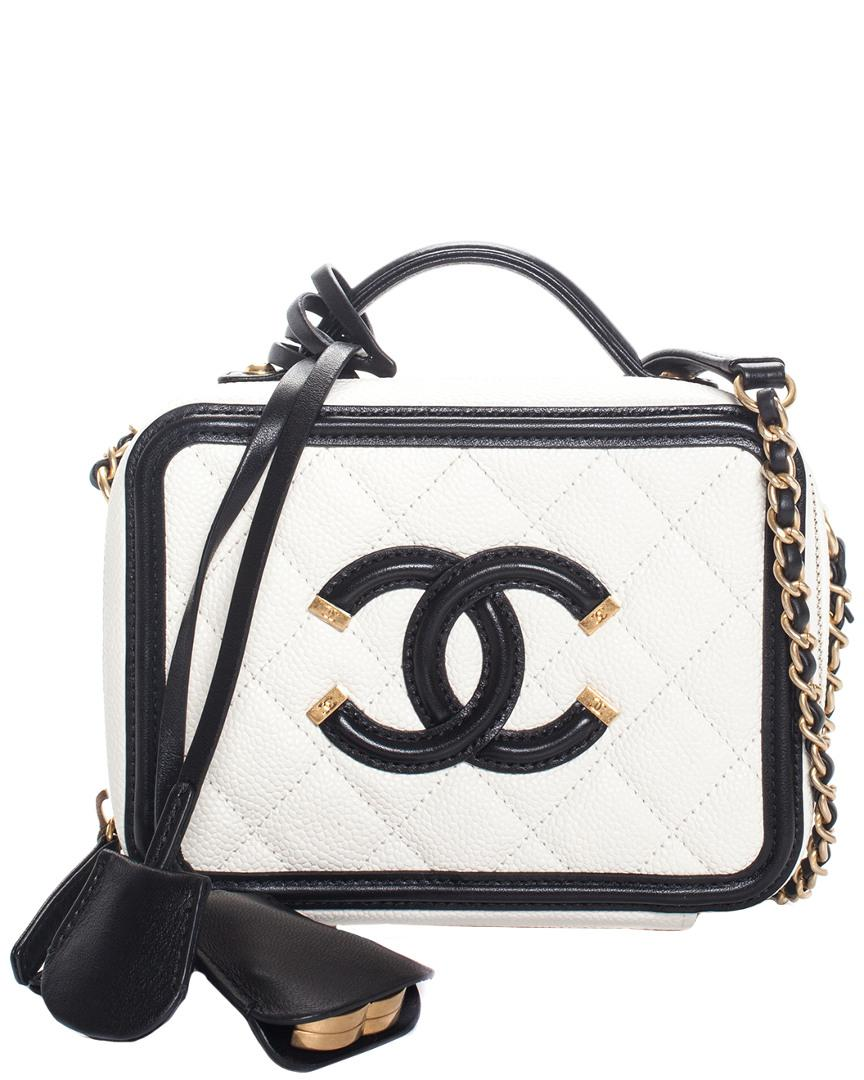 6d9854b7bb63 Chanel White & Black Quilted Caviar Leather Cc Filigree Small Vanity ...