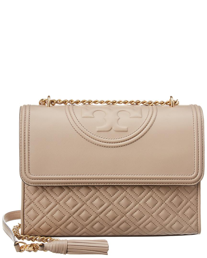 a3d79306dc94 Tory Burch Fleming Convertible Leather Shoulder Bag in Natural - Lyst