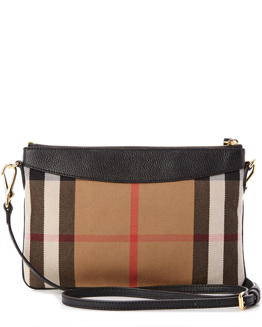 7cd72975c6ce Burberry Peyton House Check   Leather Clutch Bag in Black - Lyst