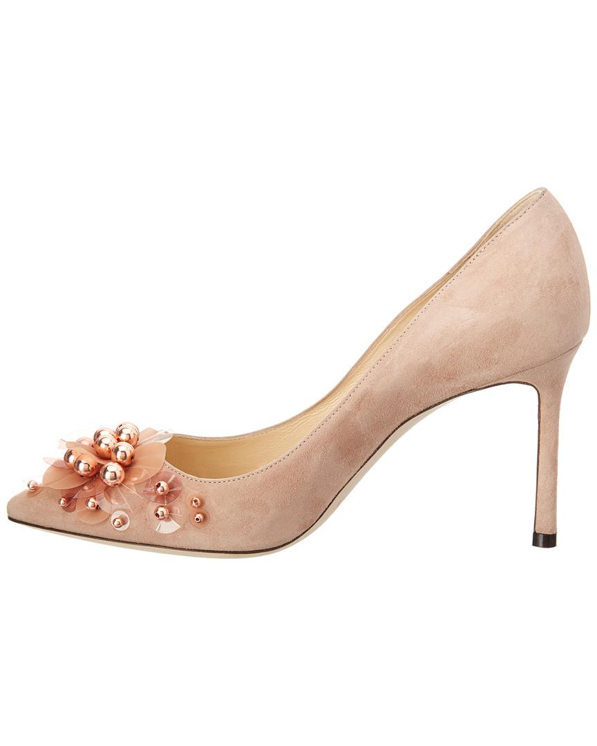 a866d68e1 Jimmy Choo Romy 85 Suede Pump in Natural - Save 36% - Lyst