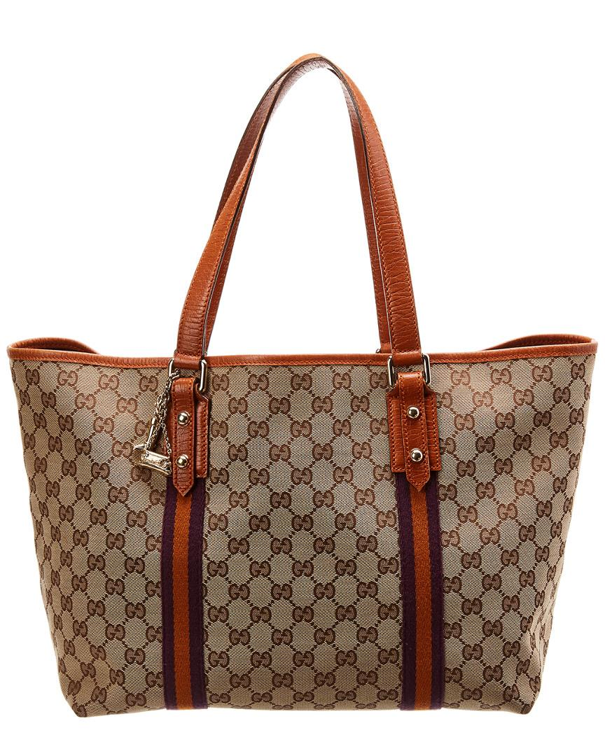 77b53bbf37f2 Lyst - Gucci Brown GG Canvas & Orange Leather Jolicoeur Tote in Brown
