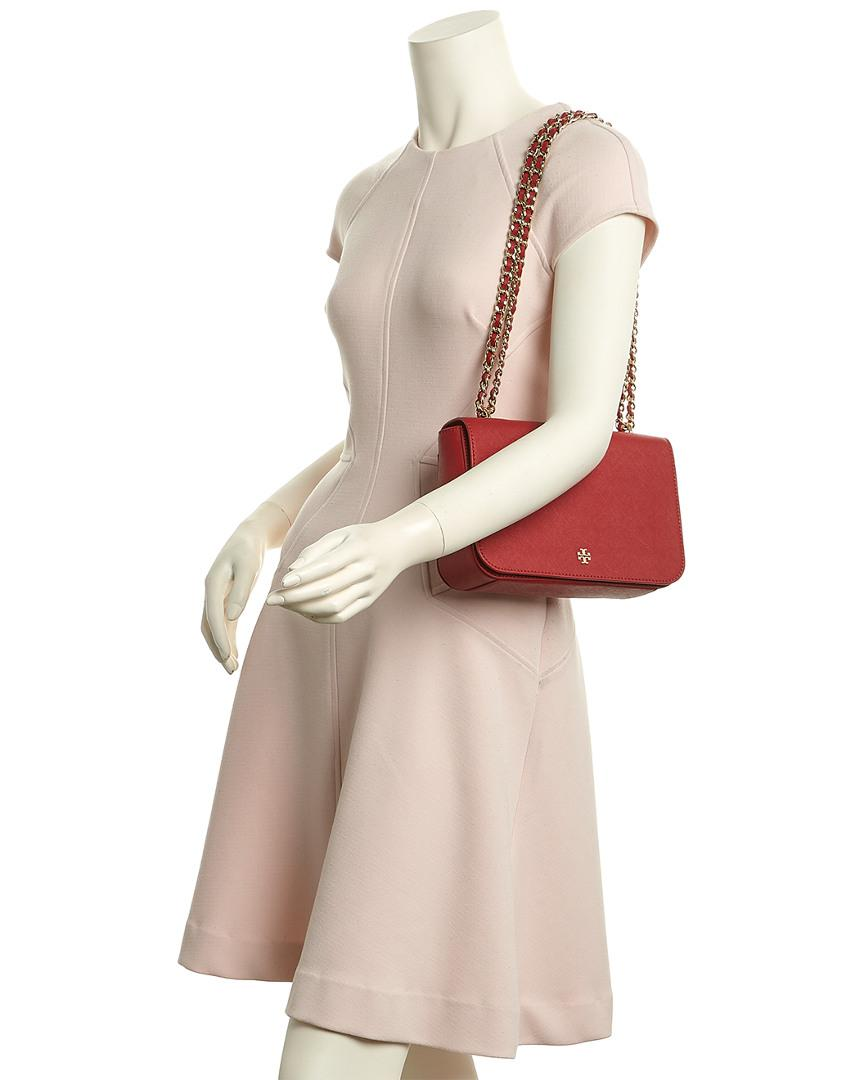 1413a39df15d Lyst - Tory Burch Emerson Leather Adjustable Shoulder Bag in Red