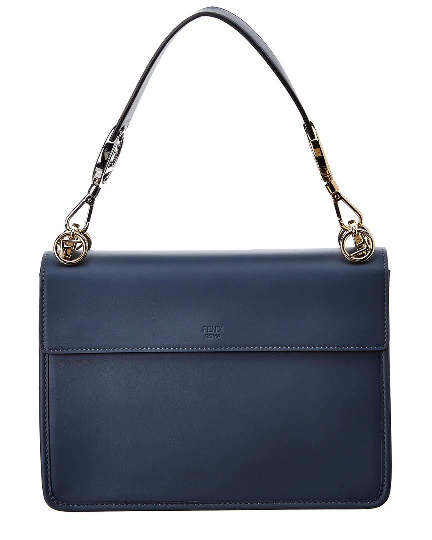 f85fab8089 Fendi Kan I F Medium Leather Shoulder Bag in Blue - Lyst