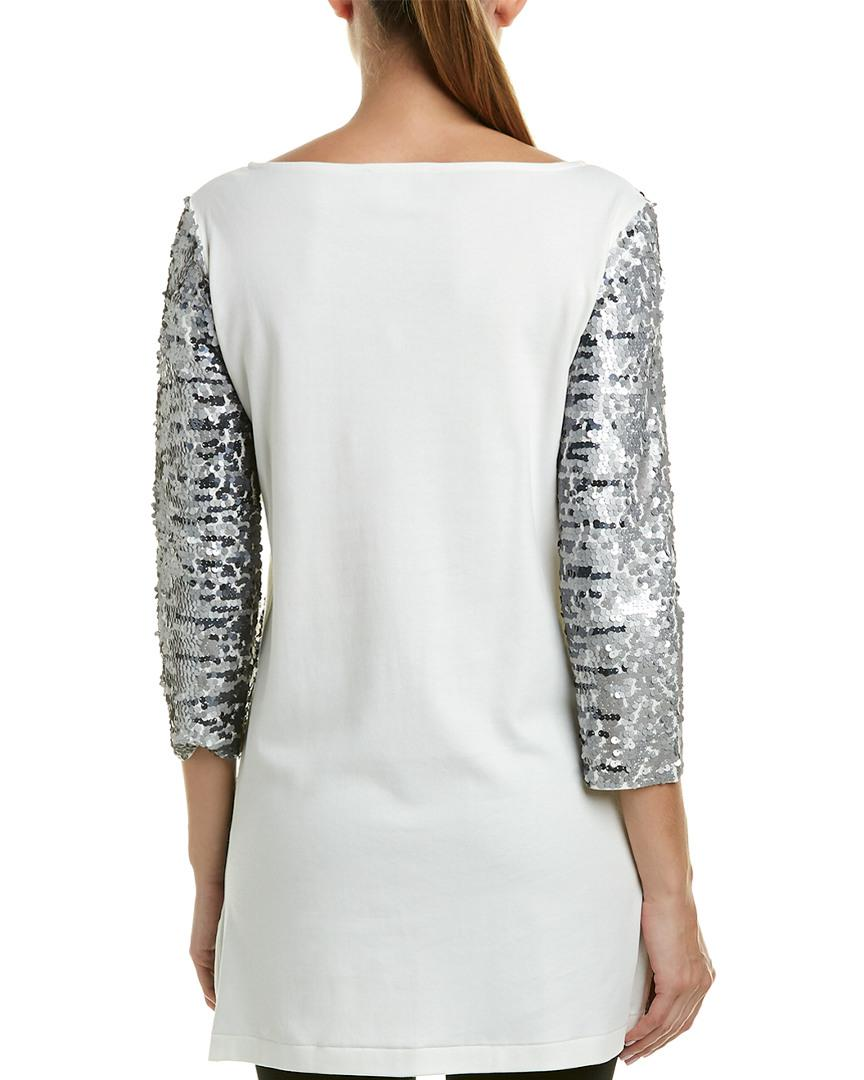 49b6168517c Joan Vass Plus Size Sequined Boat-neck 3/4 Sleeve Tunic in White - Save 74%  - Lyst