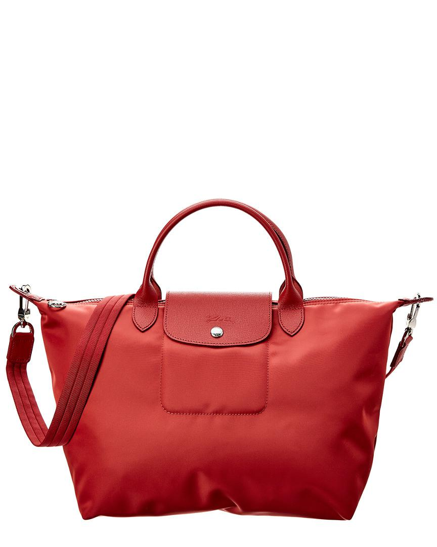 4c54ebac30 Lyst - Longchamp Le Pliage Neo Medium Nylon Top Handle Tote in Red