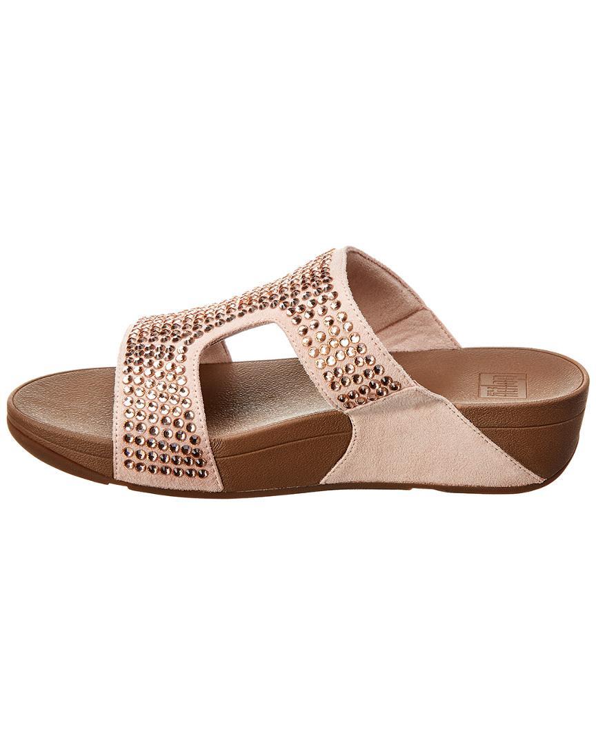 ba2aadf4a228 Fitflop Glitzie Suede Slide Sandal in Pink - Lyst