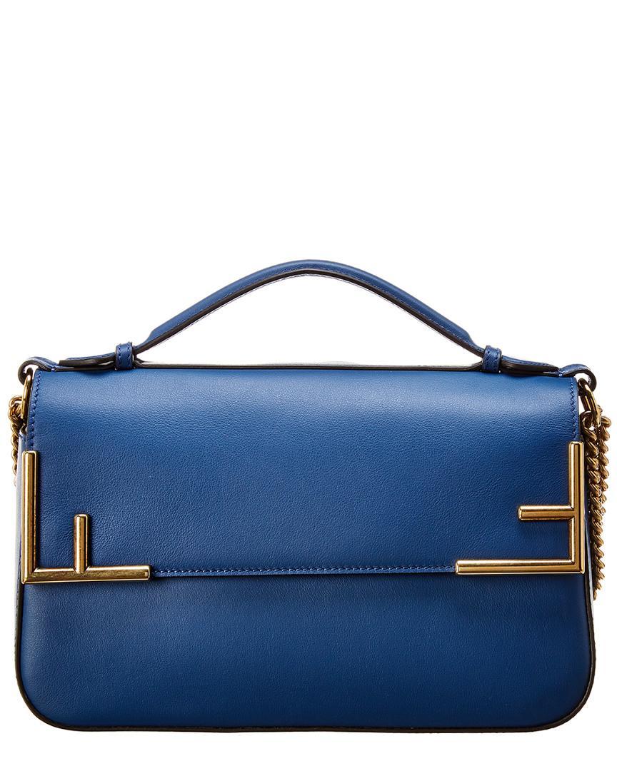 87b38f36d248 Lyst - Fendi Ff Leather Shoulder Bag in Blue