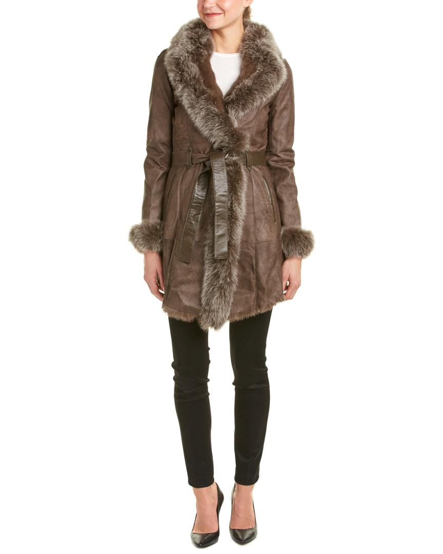 Lyst - La Fiorentina Belted Leather Coat in Gray - Save 4.761904761904759% 6951772d4