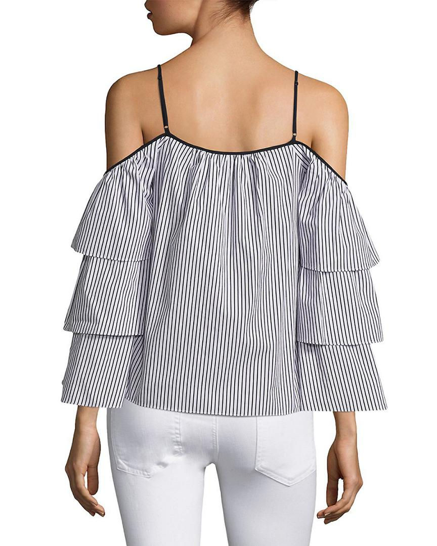 1adf4ead9b Parker Striped Marielle Cold-shoulder Blouse in Black - Lyst