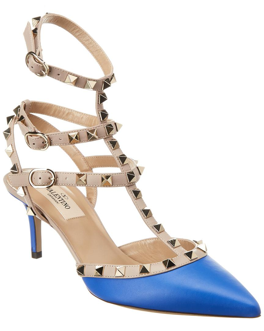 06a7076fd8c Valentino Cage Rockstud 65 Leather Ankle Strap Pump in Blue - Lyst
