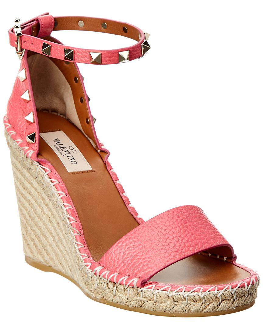 c9e12267af0 Valentino. Women s Pink Rockstud Double Leather Espadrille Wedge Sandal