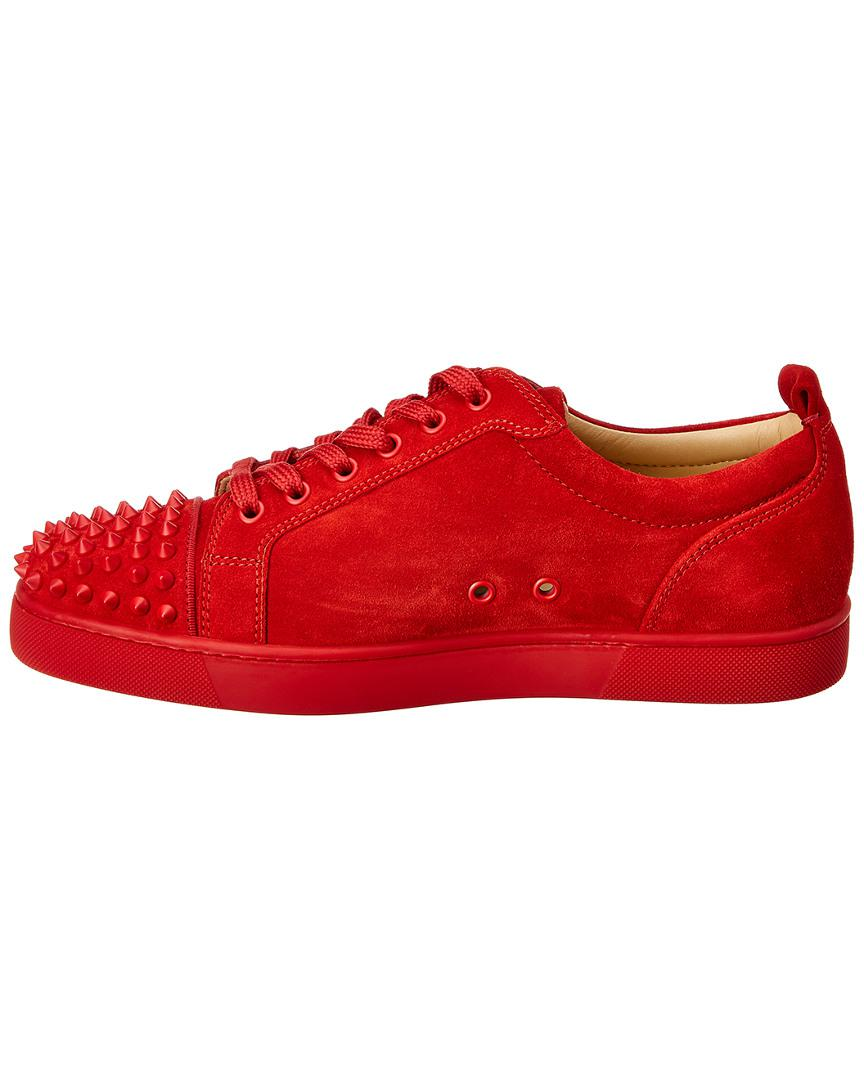 af76d2b09bf Lyst - Christian Louboutin Red Suede Louis Junior Spikes Sneakers in Red  for Men - Save 20%