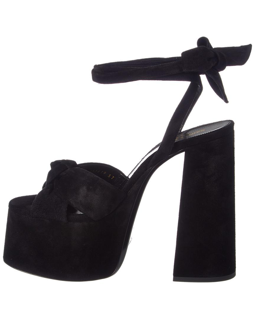 8da2fd7a06b Lyst - Saint Laurent Paige 105 Suede Platform Sandal in Black - Save 21%