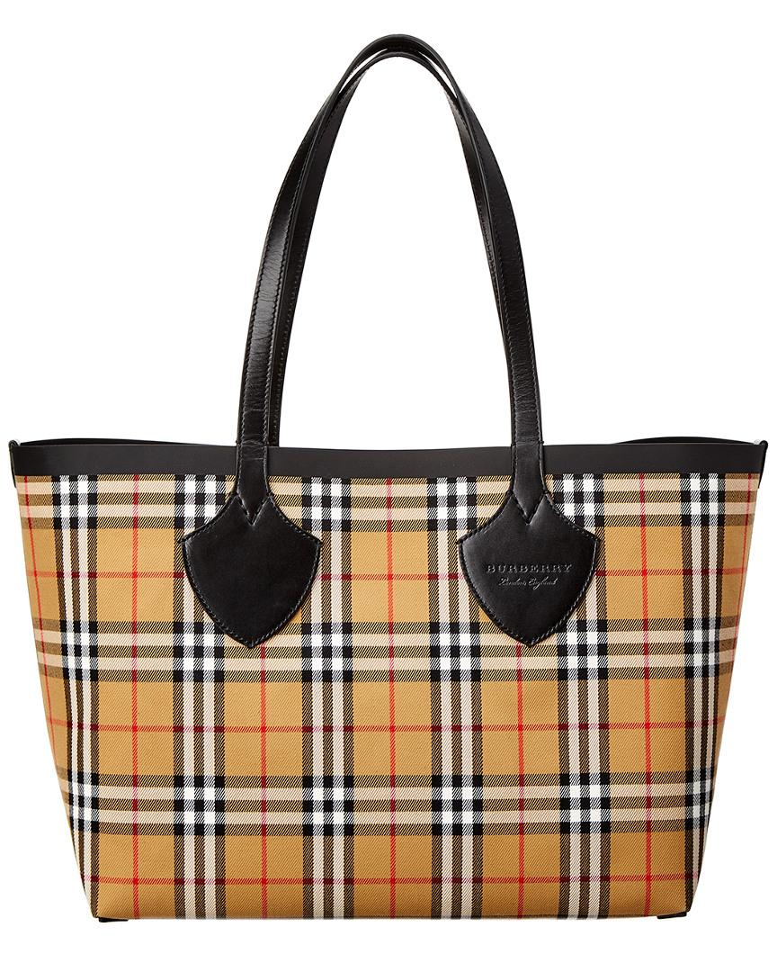 37c4fb4140dc Burberry - Yellow The Giant Medium Reversible Vintage Check Canvas    Leather Tote - Lyst. View fullscreen