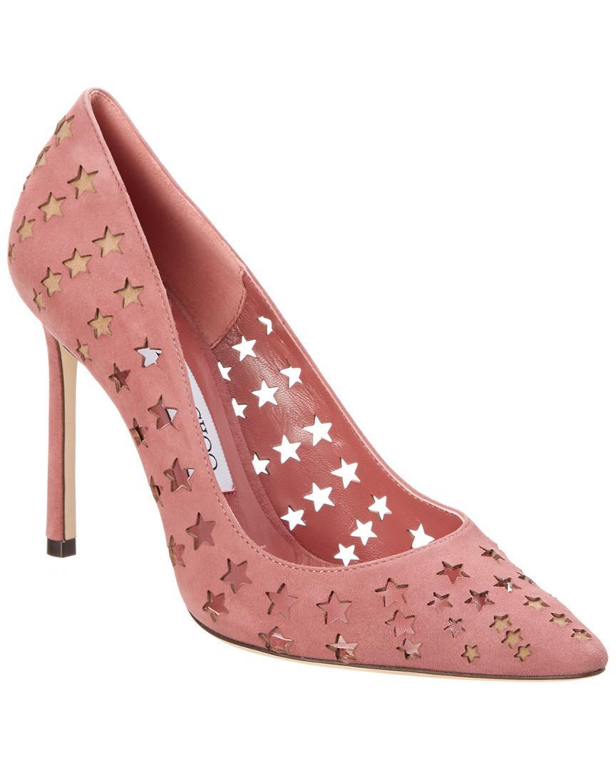 cf3661ea9 Jimmy Choo Romy 100 Suede Perforated Star Pointy-toe Pump in Pink - Lyst
