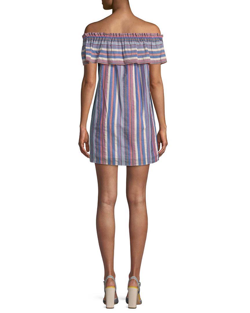 4d9898482d39 Lyst - Parker Striped Off-the-shoulder Dress in Blue - Save  41.1764705882353%