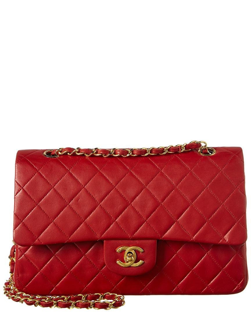 0f5a2c3daa4b Lyst - Chanel Red Quilted Lambskin Leather Medium Flap Bag in Red