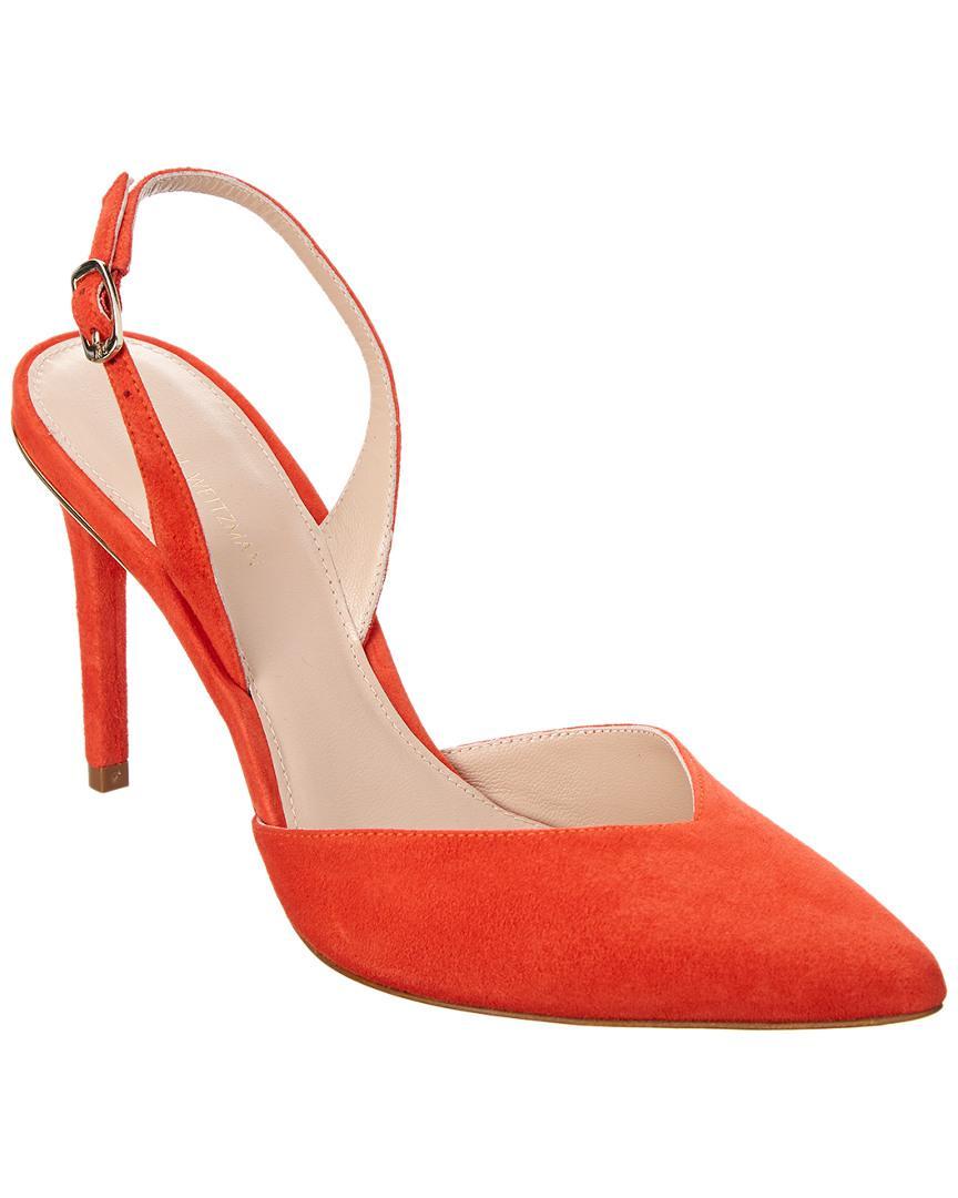 6f72a5126b3 Lyst - Stuart Weitzman Streamlines Suede Sandal in Red