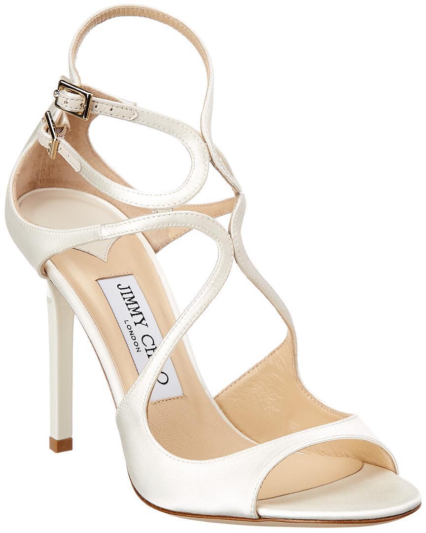 3f2599451a5 Lyst - Jimmy Choo Lang 100 Satin Sandal in White