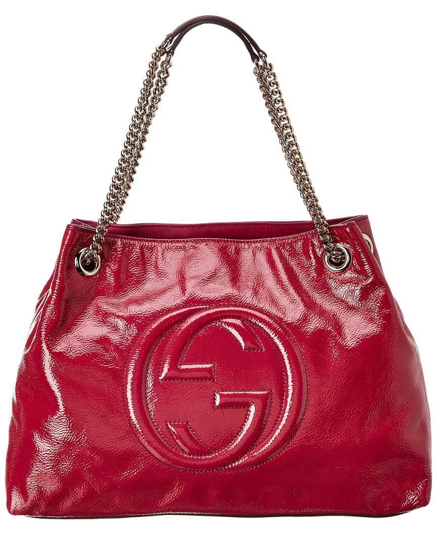 a17f45e7e639f Gucci. Women s Pink Patent Leather Chain Soho Bag
