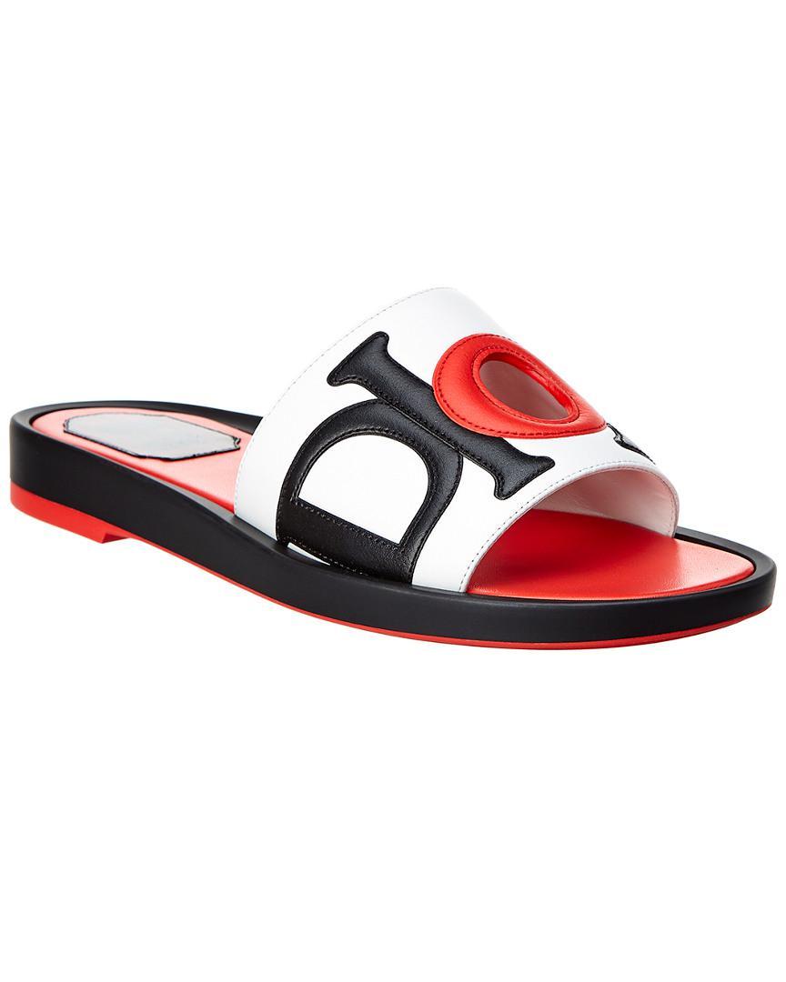c831426ccca Dior Marina Leather Slide Sandals in White - Lyst