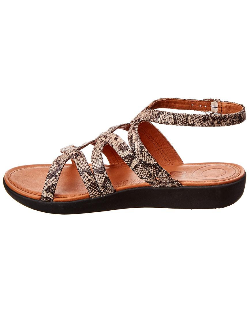 8ccae87ff5da Lyst - Fitflop Strata Snake-print Leather Gladiator Sandals in Brown - Save  61%