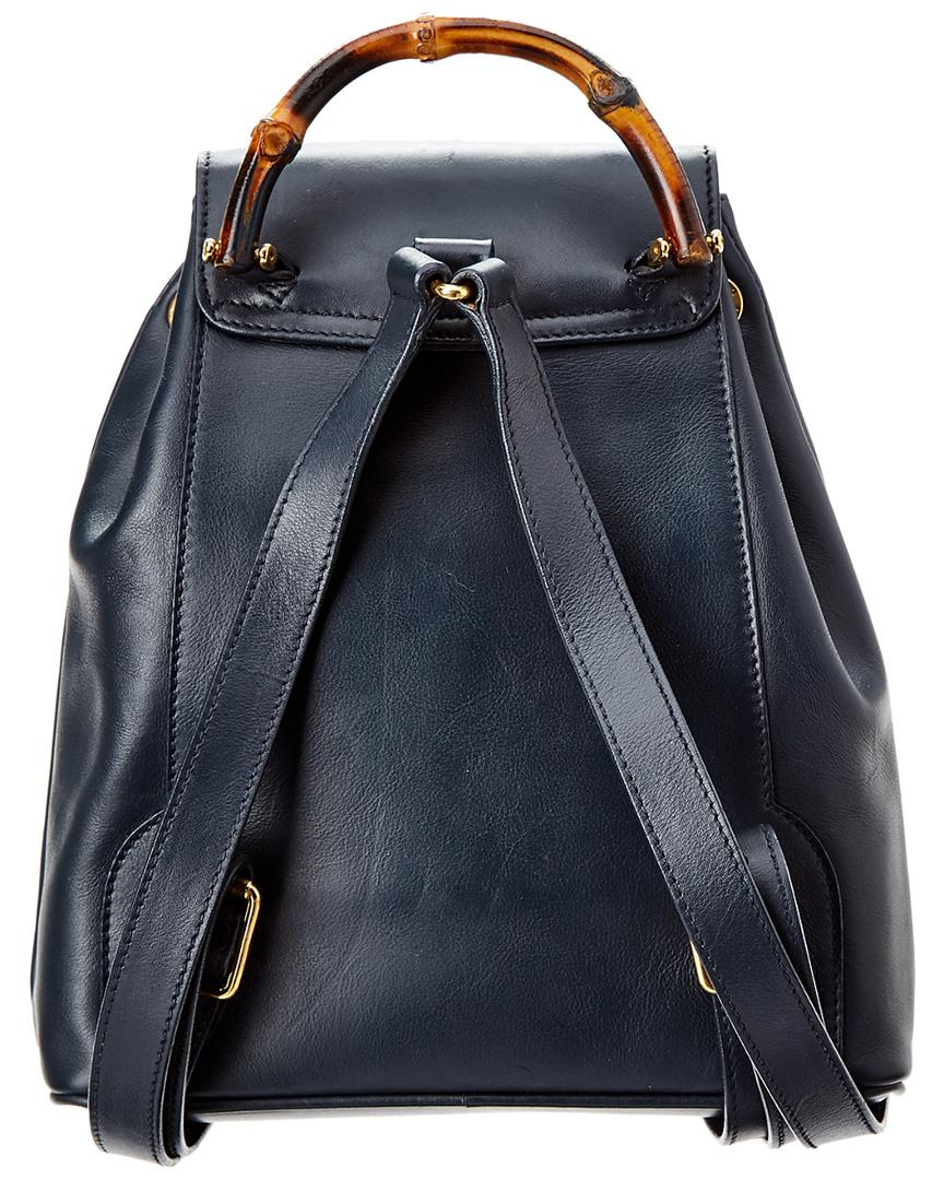 Lyst - Gucci Navy Leather Limited Edition Bamboo Backpack in Blue 28b76a51b08e4