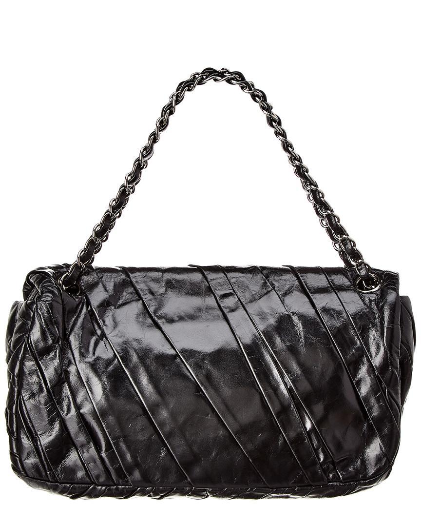1773aa42c27 Chanel Black Lambskin Leather Medium Twisted Flap Bag in Black - Lyst