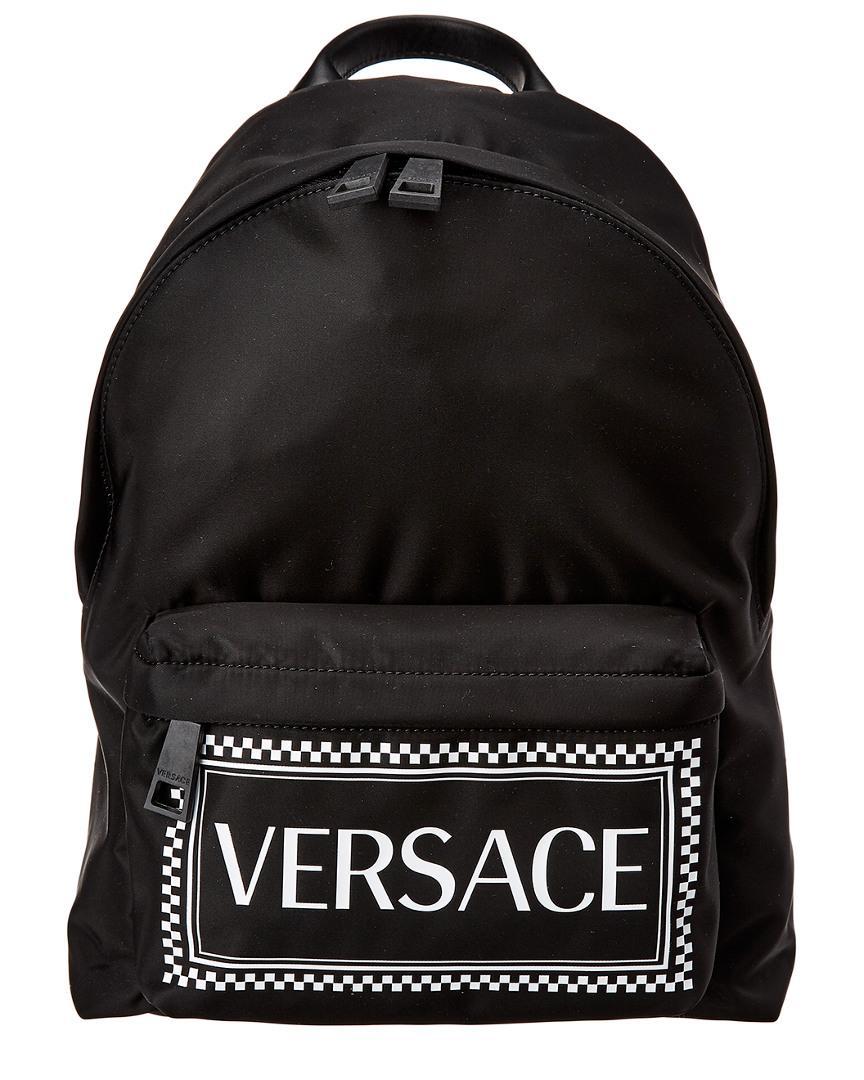 Versace - Black 90s Vintage Logo Backpack - Lyst. View fullscreen c9630484505be