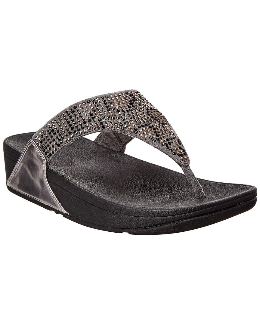 41289c68be3bd7 Lyst - Fitflop Lulu Leopard Suede Thong Sandal in Gray