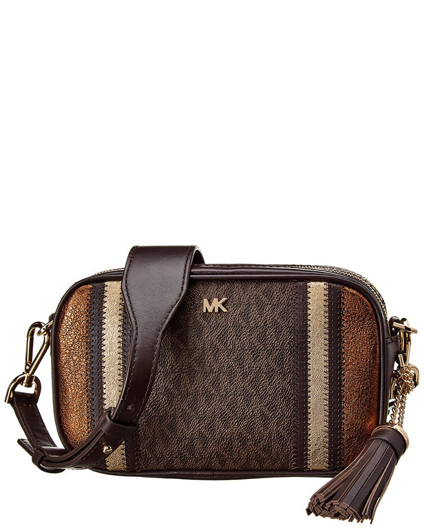 ddb5975847d2 Lyst - MICHAEL Michael Kors Small Camera Leather Bag in Brown - Save 1%