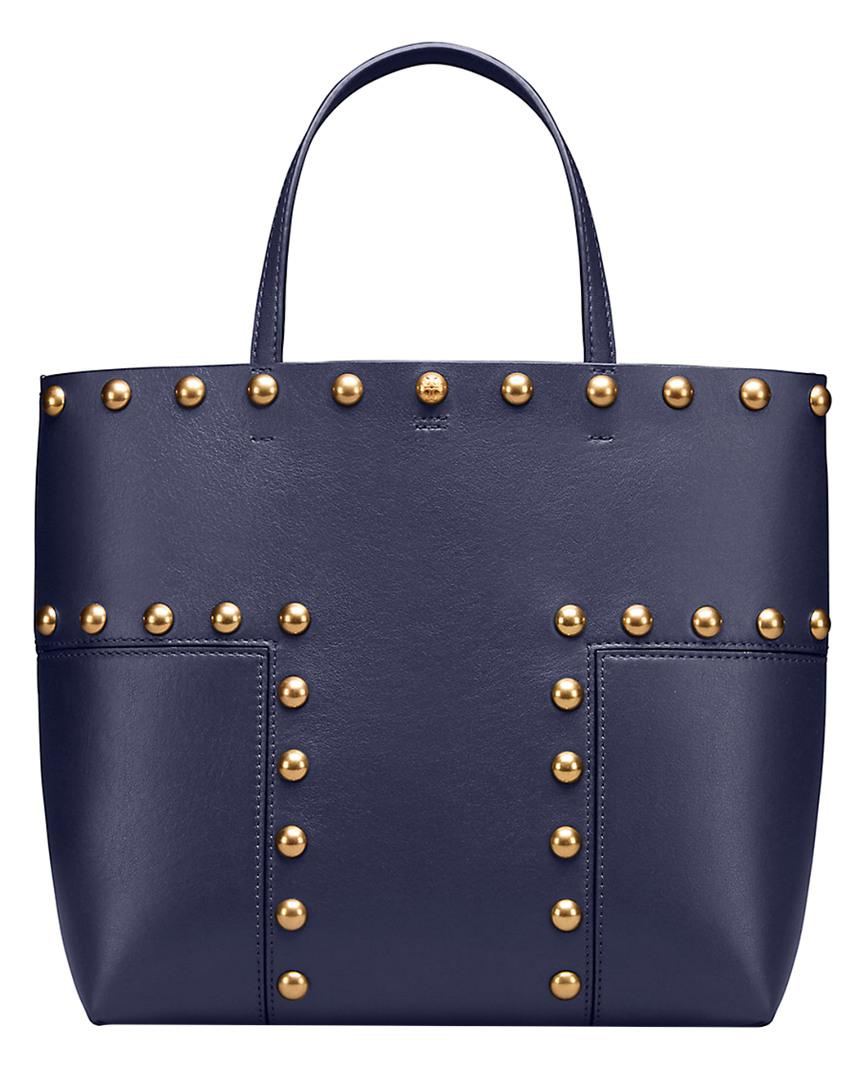 043443c278ad Lyst - Tory Burch Block-t Stud Mini Leather Tote in Blue