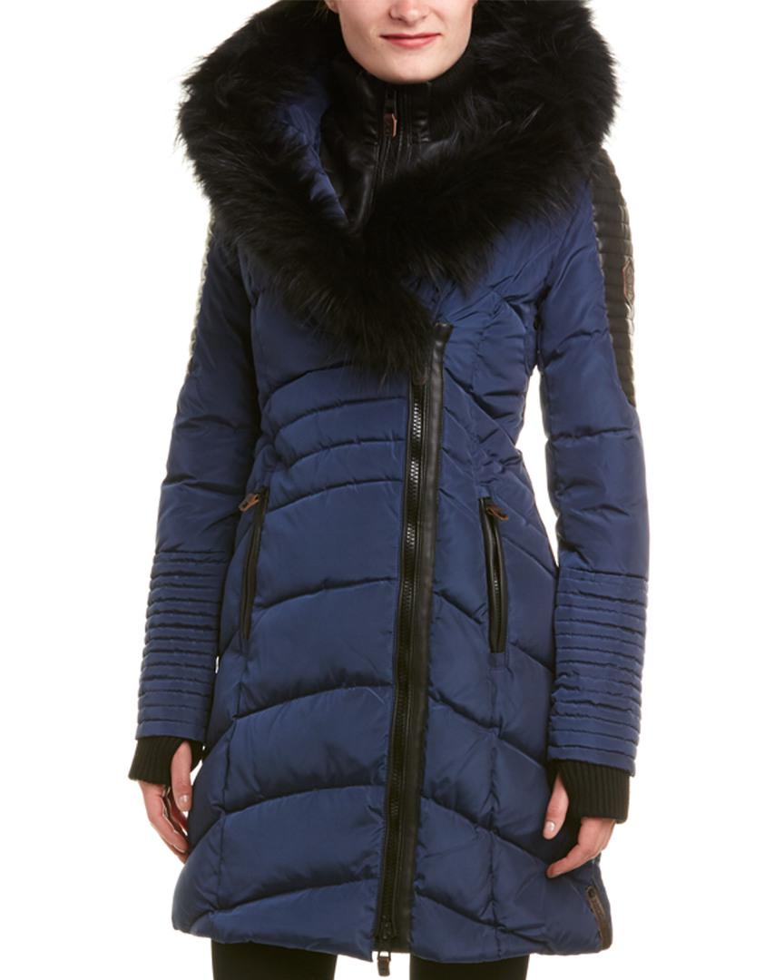 Lyst Nicole Benisti Quilted Down Coat In Blue