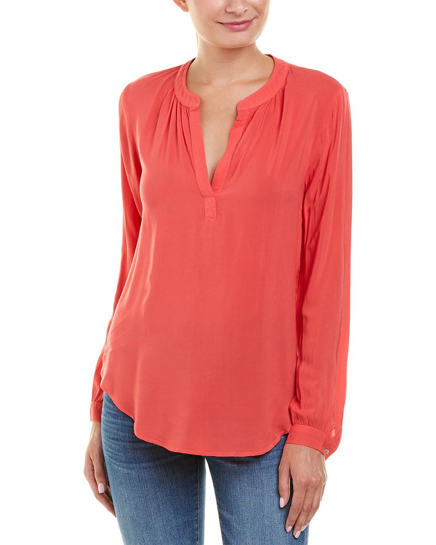 Velvet by graham spencer velvet rayon challis shirt in for Red velvet button up shirt
