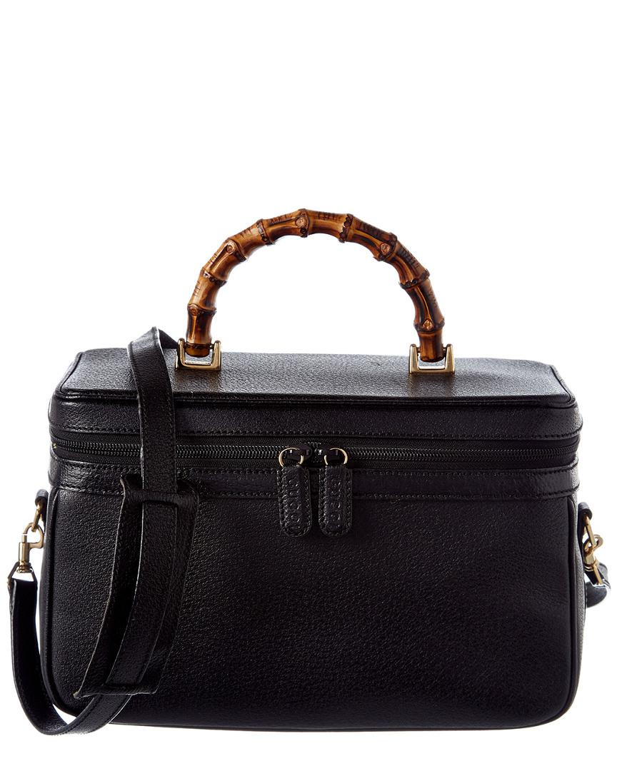 224d2b6490e8 Lyst - Gucci Black Leather Bamboo Vanity Case in Black