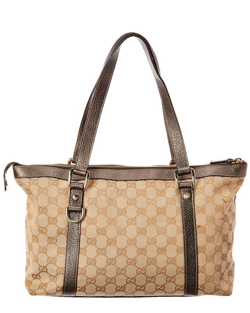 4121123de5b Lyst - Gucci Gold GG Canvas   Brown Leather Abbey Tote in Brown