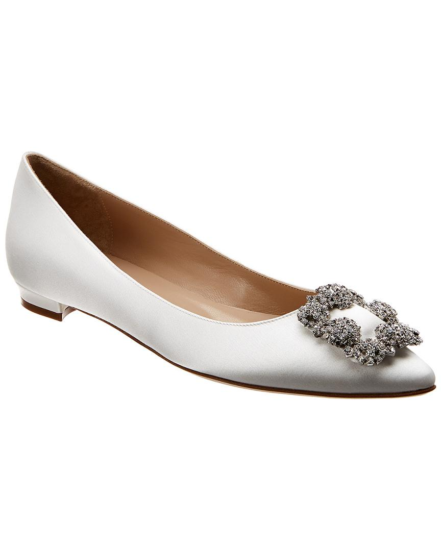 56a8b5050c8a Lyst - Manolo Blahnik Hangisi Satin Flats in White - Save 18%