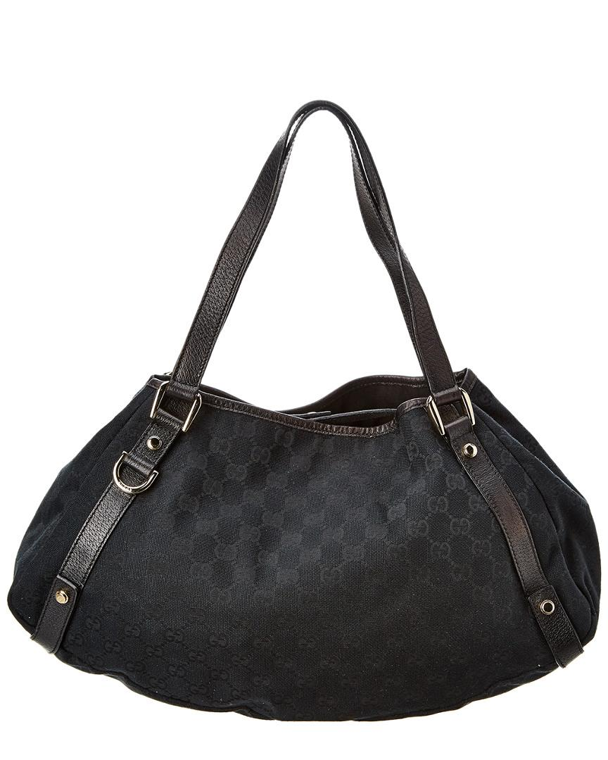 4a7f0264f8e6 Lyst - Gucci Black GG Canvas   Leather Abbey Tote in Black
