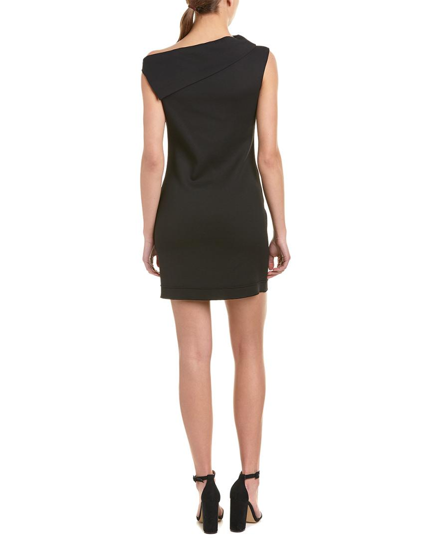 f3053197b05b Helmut Lang Asymmetrical Cowl Wool-blend Sheath Dress in Black - Save 52% -  Lyst