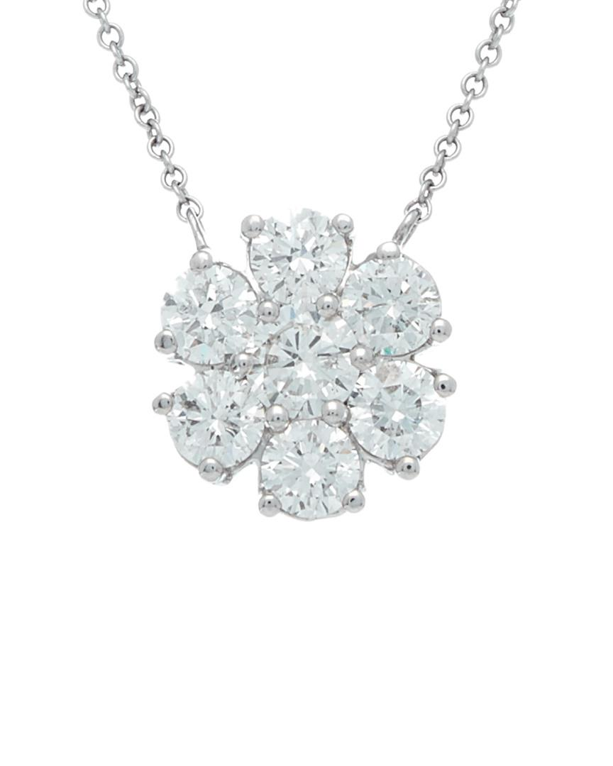 Diana M. Jewels 18k Round White Diamond Pendant Necklace opEasnHGF