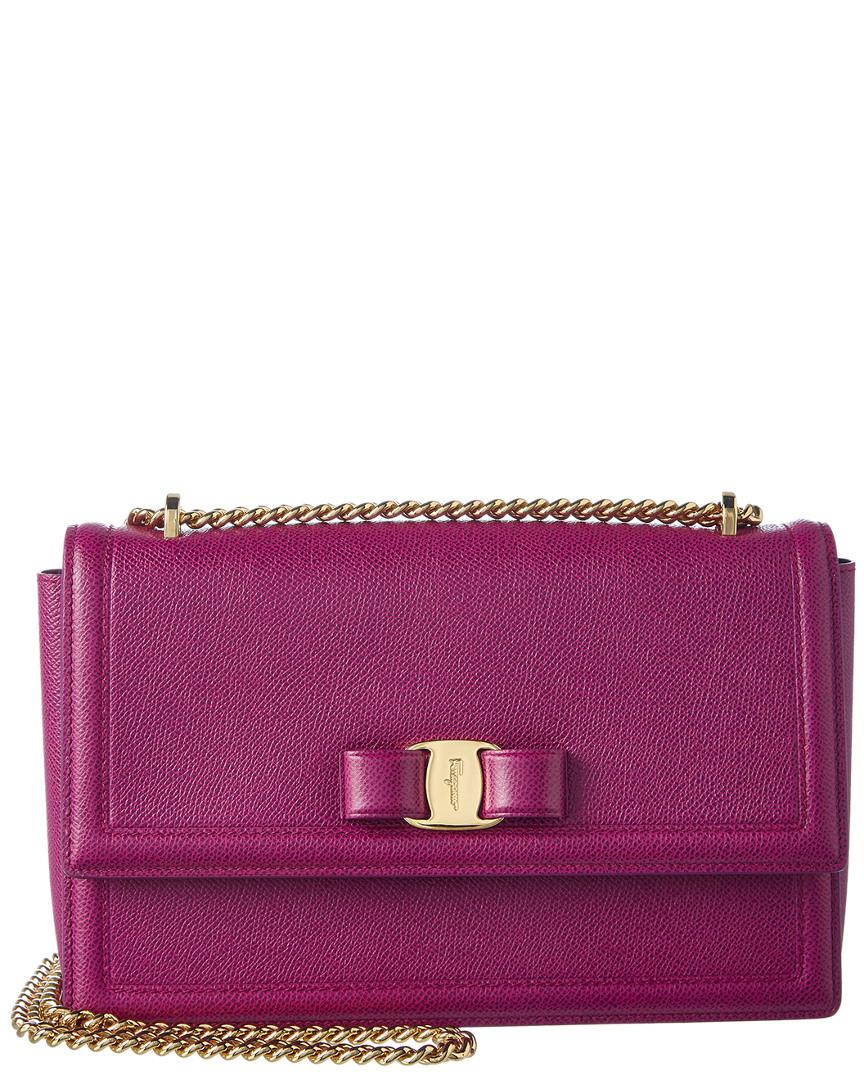 Lyst - Ferragamo Ginny Medium Vara Leather Flap Bag in Purple c29698f5b17d1