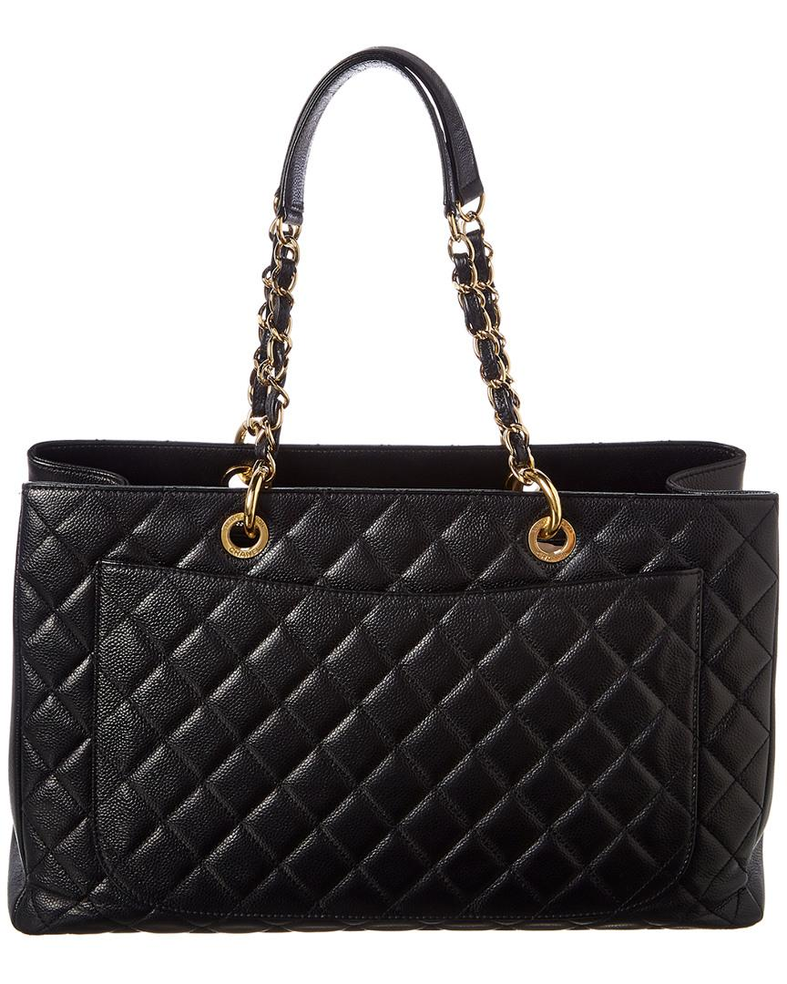 da03e022087b09 Lyst - Chanel Black Quilted Caviar Leather Grand Shopping Tote in Black -  Save 10.810810810810807%