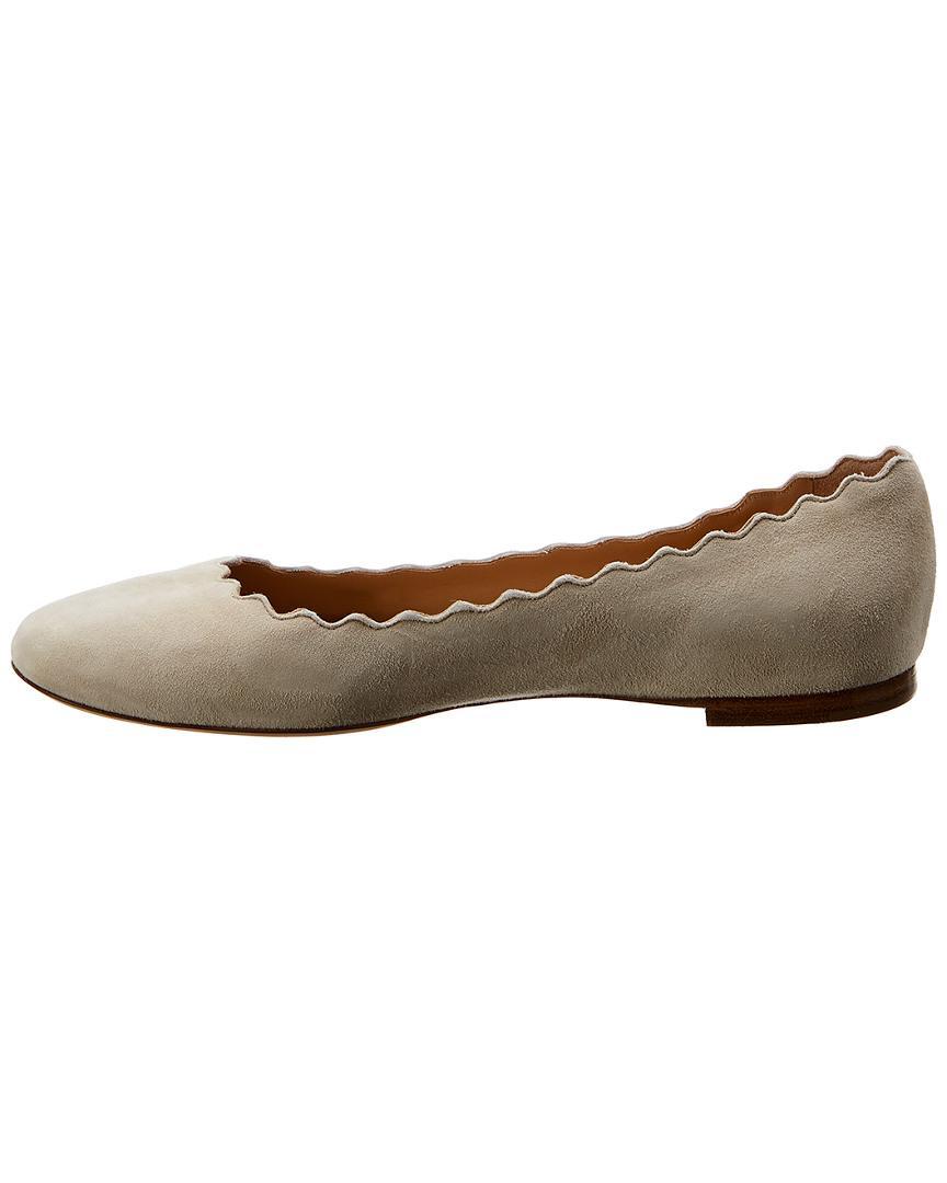 0a1739e348f Lyst - Chloé Lauren Suede Ballerina Flat in White