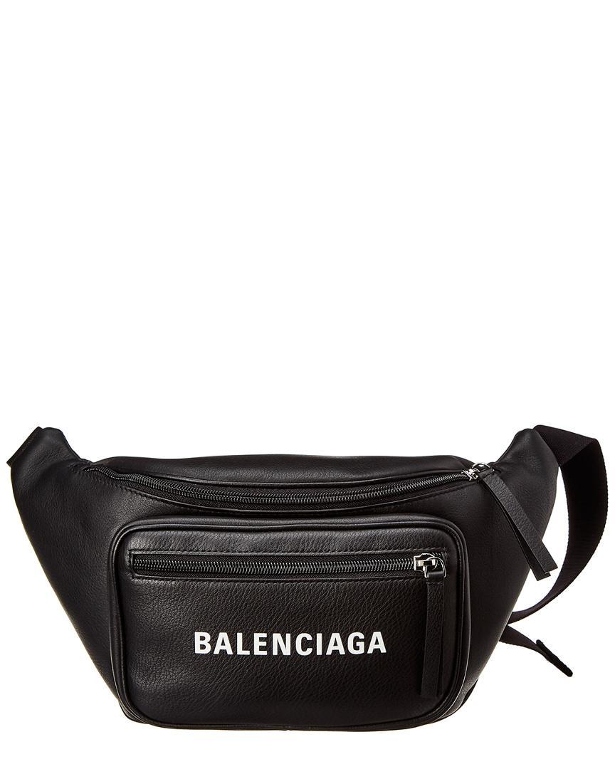 a61b0b9a1452 Balenciaga - Black Everyday Logo Leather Belt Bag - Lyst. View fullscreen